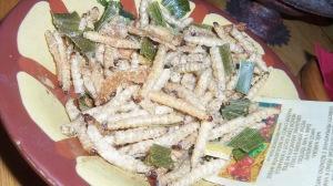 Fried grubs! Nate and Andy said they tasted like fried styrofoam!