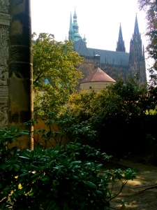 The view of the castle from the gardens.