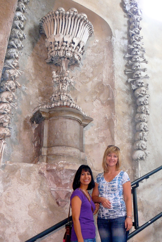 Am I really posing next to a chandelier of human bones? Odd!!
