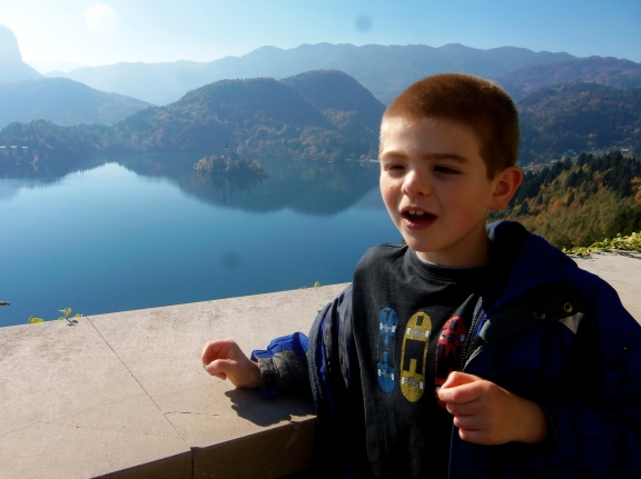 This is the view from the castle on the cliffs above Lake Bled.