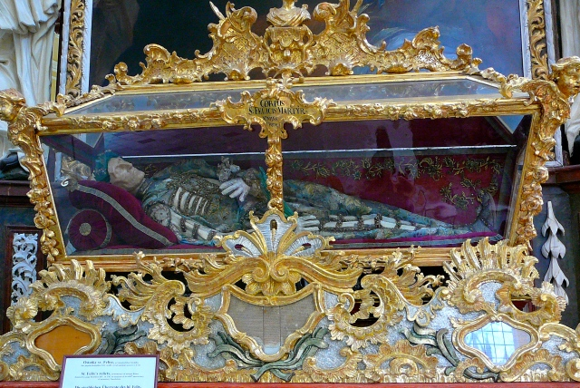 These are the relics of St. Felix, donated by Pope Benedict X!V in 1742 on the occasion of the monastery's 600th anniversary!