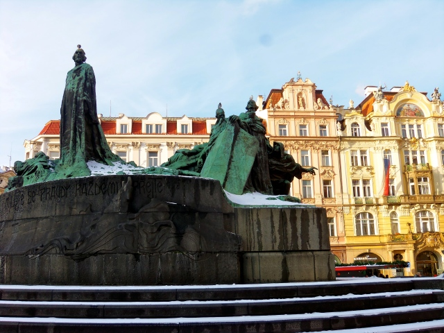 Jan Hus presides over the festivities, as always.